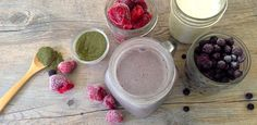This recipe is great for breakfast or a snack! It's refreshing, with a dynamic flavor, and totally healthy. It's not quite as thick as a smoothie, but you could turn it into one by adding a frozen banana. The berries provide antioxidant value, plus vitamins and minerals, and the green powder...