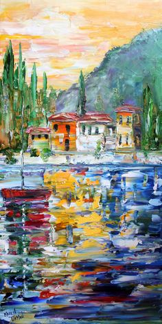 Lake Como Italy oil painting original work by Karen's Fine Art – Gallery Represented Modern Impressionism in oils    Title: Lake Como Italy