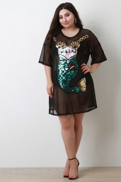 93a5d15fb494b Sequins Mermaid Mesh T-Shirt Dress Trendy Plus Size Clothing