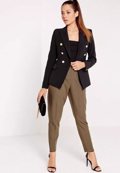 work some major on fleek tailored military vibes this season in this seriously on point blazer. with chic gold button detail to the front and the sleeves this blazer is fierce. team with cigarette trousers and a bodysuit with some barley th...