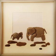 Mum & baby Elephant pebbleart #mumsandbabies #babyelephant #mummyelephant #anelephantneverforgets #specialbonds #pebbleartist #pebbleartwork #boxframeart #handmadegifts #handmadeinwales #personalised #bespokeframes