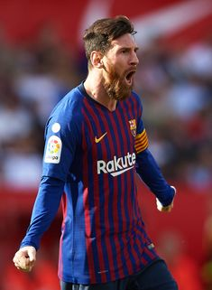 Lionel Messi of Barcelona celebrates after scoring his team's first. Fc Barcelona, Lionel Messi Barcelona, Leonel Messi, Messi 10, Messi Soccer, Best Football Players, Soccer Players, Lionel Messi Family, Messi Goals