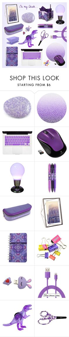 """""""On my purple desk"""" by savousepate ❤ liked on Polyvore featuring interior, interiors, interior design, home, home decor, interior decorating, Logitech, Universal Lighting and Decor, Vera Bradley and Umbra"""