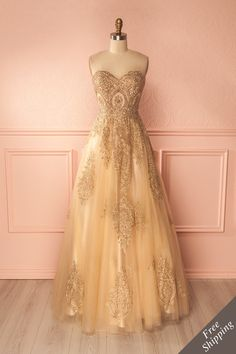 Nabila Or Golden Ball Gown with Golden Embroidery | Boutique 1861