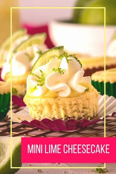 Mini Lime Cheesecakes with a shortbread cookie crust are the perfect one-bite dessert. A lime cheesecake filling poured over shortbread cookies bakes quickly in a mini muffin tin. Top with lime curd and freshly whipped cream for a sweet treat! Cheesecake bites are great party foods! #ad #Sproutspartner #lime #cheesecake #onebitedessert #mini #cincodemayo Homemade Desserts, Best Dessert Recipes, Fun Desserts, Delicious Desserts, Cheesecake Crust, Best Cheesecake, Shortbread Cookie Crust, Vegetarian Desserts, Curd Recipe