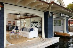 Coastal Muskoka Living Interior Design Ideas ~Not your average boat house~B Coastal Homes, Coastal Living, Lakeside Living, Outdoor Living, Les Hamptons, Haus Am See, Lakefront Property, Floating House, Lake Cottage