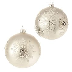 "4"" Snowflake Ball Ornaments - Set of 2  Price : $18.36 http://www.perfectlyfestive.com/RAZ-Imports-Snowflake-Ball-Ornaments/dp/B00MN4WFRM"