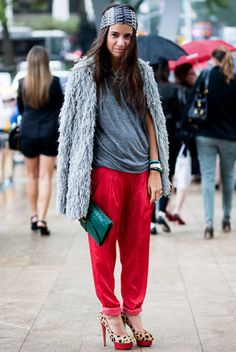 Natasha Goldenberg wears greys with bolds + leopard print