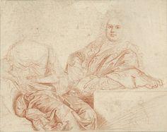 John Closterman | Portret van Grinling Gibbons en zijn vrouw, John Closterman, Willem Wissing, 1670 - 1711 | Portret van Grinling Gibbons (1648-1720) en zijn vrouw; zittende halffiguren, slechts gedeeltelijk uitgevoerd.