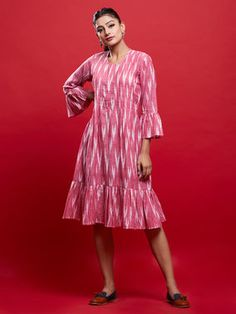 Pink Ikat Ruffle Dress Kurta Designs Women, Kurti Neck Designs, Dress Neck Designs, Blouse Designs, Kalamkari Dresses, Ikkat Dresses, Kurti Sleeves Design, Sleeves Designs For Dresses, Casual Frocks