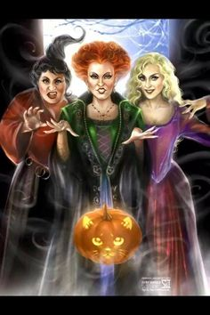 "Hocus Pocus by `daekazu on deviantART ~ Disney ~ "" Mary, Winifred and Sarah! The three Sanderson sisters! Played by Kathy Najimy, Bette Midler and Sarah Jessica Parker! Thackery Binx as a Halloween pumpkin.] "" ~ as quoted by artist on his site. Halloween Movies, Halloween Pictures, Halloween Kostüm, Holidays Halloween, Vintage Halloween, Halloween Decorations, Halloween Costumes, Halloween Queen, Halloween Labels"