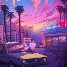 Los Angeles parking wv yellow old school retro car illustration digital art synthwave artwork sun Vaporwave Wallpaper, Retro Kunst, Retro Art, Retro Vintage, Neon Aesthetic, Aesthetic Anime, 3d Touch Wallpaper, Purple Wallpaper, Auto Illustration