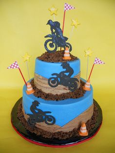 Ideas For Dirt Bike Birthday Ideas Kids Motorcross Cake, Bolo Motocross, Bmx Cake, Motorcycle Cake, Motocross Birthday Party, Motorcycle Birthday Cakes, Bike Birthday Parties, Dirt Bike Birthday, Cake Birthday