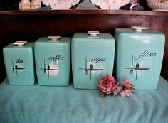 Superb PRICE REDUCED Turquoise Retro Vintage Kitchen Canister Set Of Four
