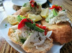 want to try: crab and avocado crostini at Oporto wine and tapas bar!