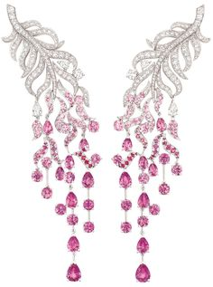 """Chanel """"Plume enchantée"""" earrings; white gold, diamonds and pink sapphires"""