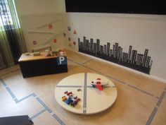 Car/trucks & tape roads-Syrenen Toreboda Blog Waldorf Preschool, Preschool Classroom, Preschool Ideas, Block Play, Classroom Environment, Reggio Emilia, Learning Environments, Working With Children, Montessori