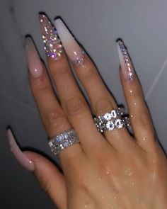 Cute acrylic nails are offered on our website. Check it out and you wont be sorry you did. Bling Acrylic Nails, White Acrylic Nails, Summer Acrylic Nails, Glam Nails, Best Acrylic Nails, Rhinestone Nails, Bling Nails, Summer Nails, Glitter Nails