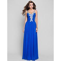 con cuello en V vestido de fiesta vaina / columna piso-longitud de la gasa de la noche / – EUR € 97.34