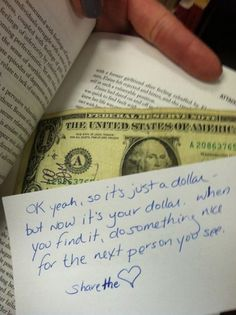 Pay It Forward In A Library Book? (Click image for tip) #Kindness