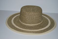 Preston  amp  York Wide Brim Hat Brown White Floppy Kentucky Derby S M Italy c41a58f34b95