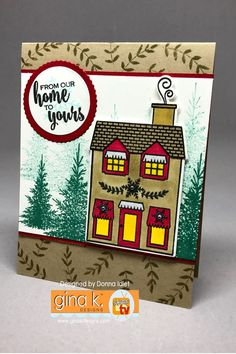 Gina K. Designs: Home for the Holiday's stamp set Gina K. Pure Luxury cardstock: Ivory, Red Velvet, and Kraft Gina K. Ink: Black Onyx, Turquoise Sea, Christmas Pine and Kraft Copics: RV29, Y28, Y02, G29, C0