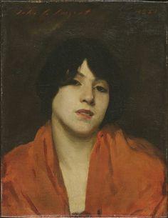 "John Singer Sargent, A Venetian Woman in a Scarlet Shawl (""Gigia Viani""), 1880, Harvard Art Museums/Fogg Museum."