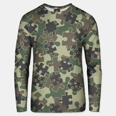 Jigsaw Puzzle Pieces Camo WOODLAND GREEN Unisex sweater, Live Heroes