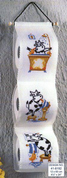 Friesian Cow Toilet Roll Tidy Cross Stitch Kit   sewandso