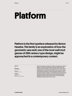 Typeface: Platform Designer: Berton Hasebe