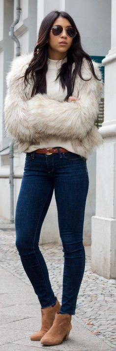 Beige Faux Fur Crop Jacket # Your Standard Trends Of Winter Apparel Crop Jackets Jacket Beige Jacket Faux Fur Jacket How To Wear Jacket 2015 Jacket Where To Get Jacket How To Style Chic Outfits, Fashion Outfits, Woman Outfits, Fashion Clothes, Fashion Ideas, Fashion Inspiration, Fashion Accessories, Fur Fashion, Fashion Looks