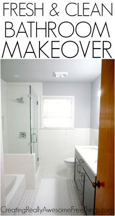 Check out this awesome bathroom makeover done on a budget! (Almost) Everything is in stock at Home Depot!