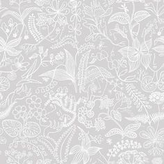 "Brewster Home Fashions Wall Vision 33' x 20.9"" Grazia Floral Silhouette Wallpaper Color: Gray"