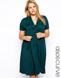 ASOS CURVE Short Sleeve Swing Dress With Pussybow