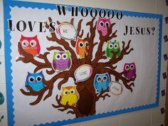 Sunday School Bulletin Board Ideas | Owl bulletin board | ideas for Sunday school