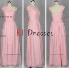 One shoulder with cap sleeves floor-length chiffon evening dress ,prom dress ,bridesmaid dress