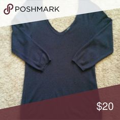 The Limited 3/4 sleeve v neck sweater Navy blue sweater so soft with dot detail. V neck front and back for a sophisticated look. The Limited Sweaters V-Necks