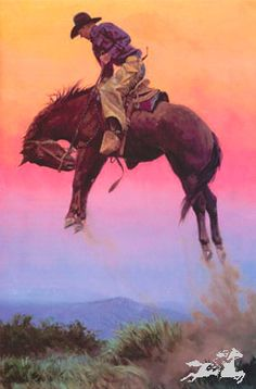 """Cowboy Art by Bill Owen Limited Edition Print:""""Getting High"""""""