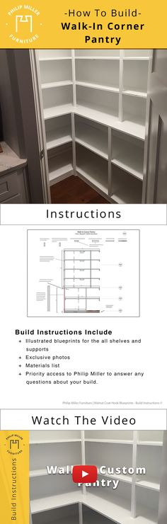 DIY walk-in corner pantry plans and instructions. Simple easy to follow. Learn how to build this for your very own home. All-white pantry design with measurements to help you DIY your pantry shelving - Shelterness DOWNLOAD THE PLANS: https://www.etsy.com/listing/606231747/build-instructions-for-a-walk-in-corner?ref=pr_shop WATCH THE VIDEO: https://youtu.be/tsx6WDIolEI