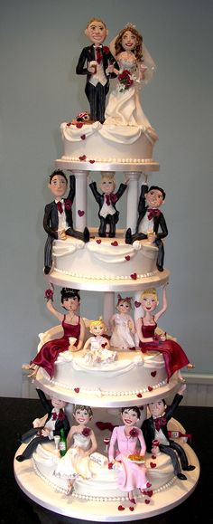The whole bridal party wedding cake topper Crazy Wedding Cakes, Unusual Wedding Cakes, Funny Wedding Cakes, Indian Wedding Cakes, Creative Wedding Cakes, Themed Wedding Cakes, Amazing Wedding Cakes, Unique Cakes, Wedding Cake Designs