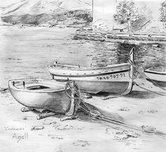 Barcas de Cadaqués, dibuix de Cinta Agell
