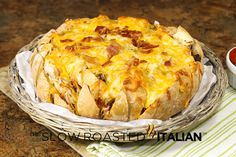 The Slow Roasted Italian - Printable Recipes: Bacon Double Cheeseburger Pull Apart Bread