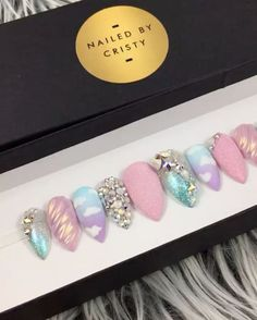 """361 Likes, 12 Comments - Maria C. Sanchez (Cristy) (@nailedbycristy) on Instagram: """"✨Working on a custom order for @tatsmz Holographic chrome: @daily_charme #holosexual #unicorn…"""""""