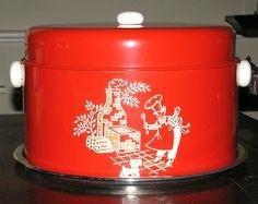 Vintage Kitchen Red Tin Cake & Pie Carrier Keeper 1950s
