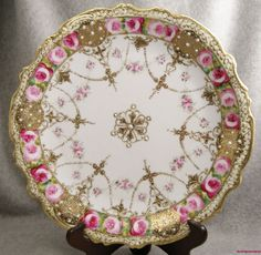 Royal Crockery Noritake Nippon Plate Gold Encrusted Gilt Moriage Pink Roses