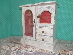 Custom Order..shabby White Jewelry Box...organizer.. Vintage Distressed Wooden…