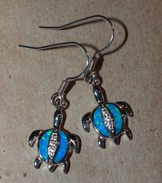 blue fire opal Cz earrings gemstone silver jewelry cocktail Turtle drop/dangle W #DropDangle