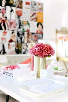pink and white office, workspace, girly and feminine
