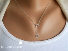 Tiny Sterling Silver Eternity/Circle Lariat por thelovelyraindrop
