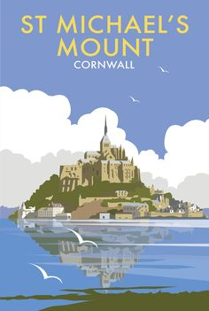 St Michaels Mount Beach and Coastal Print by Dave Thompson… Posters Uk, Railway Posters, Portsmouth, Le Mont St Michel, St Michael's Mount, British Travel, Tourism Poster, Advertising Poster, Vintage Travel Posters